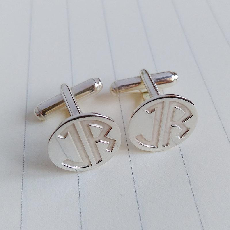 Wedding Cufflinks Two Letter Monogram Groom Personalized Engraved Gift From Bride