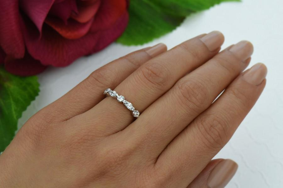 1 25 Ctw Eternity Ring Marquise Art Deco Wedding Band Engagement Man Made Diamond Simulant Stacking Sterling Silver