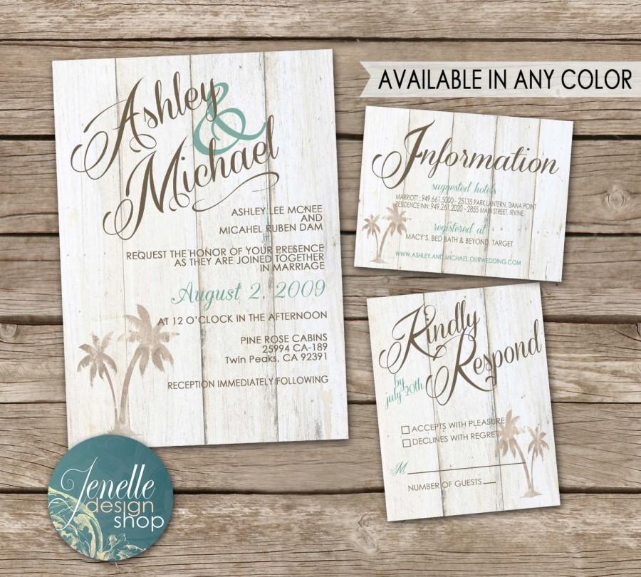 Rustic Beach Wedding Invitations Invitation Kit Thank You Card Save The Date Printable Postcard Chic Destination