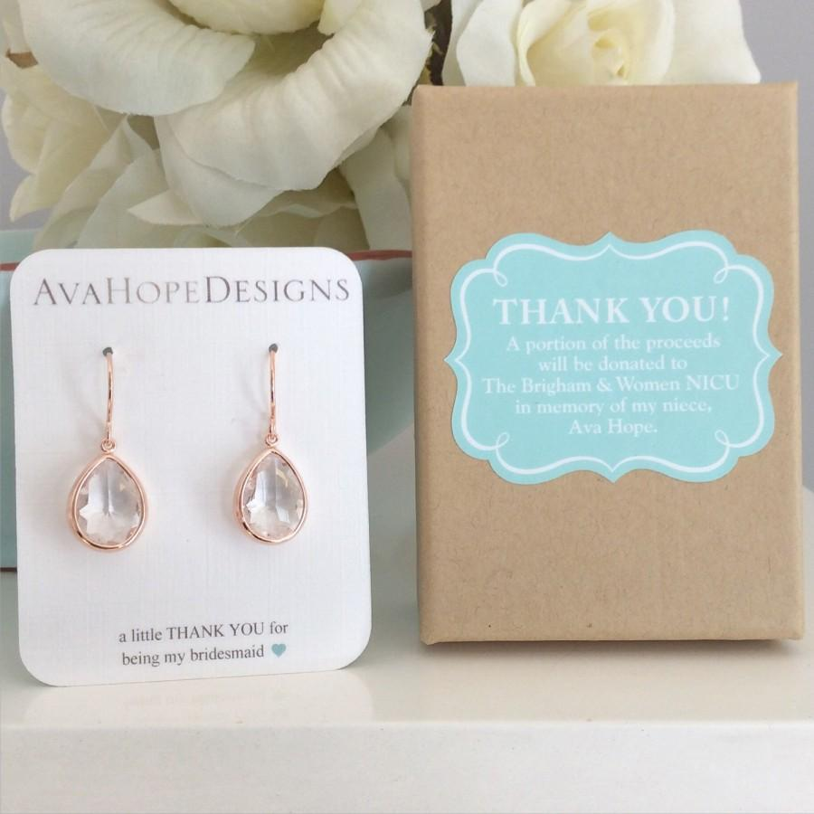 Rose Gold Earrings Gifts For Her Bridesmaid Wedding Best Friend Wife