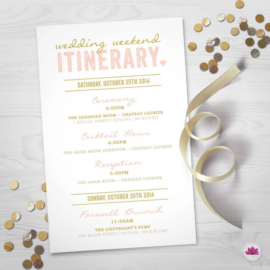 Wedding Weekend Itinerary Day Timeline Digital File