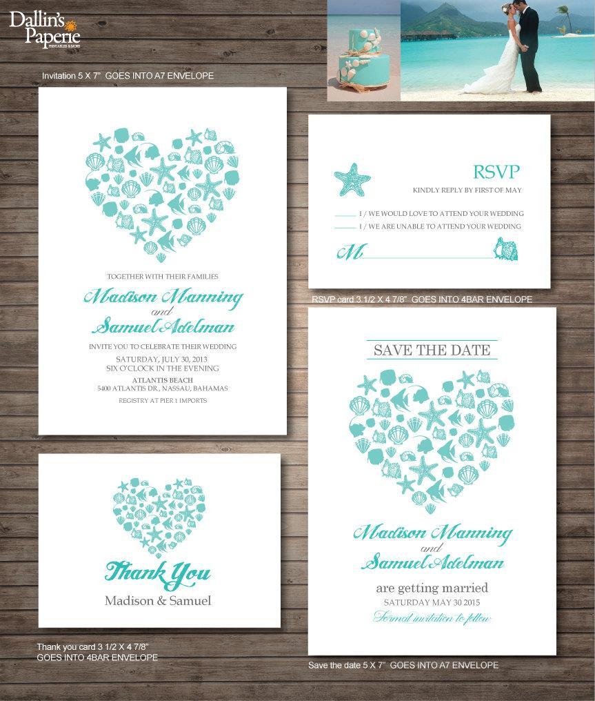 Beach Wedding Invitation Printables Destination Heart Customized Diy C Turquoise Sea Shell