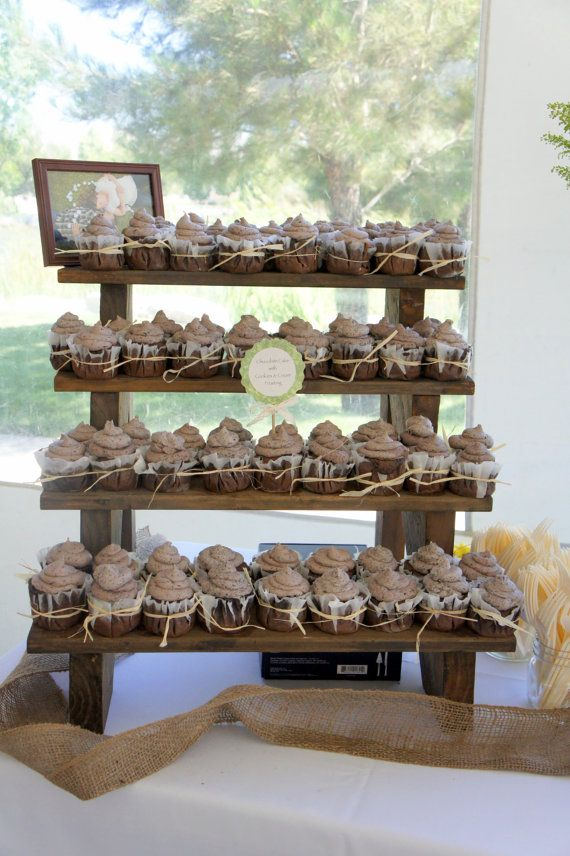 The Cupcake Stand 4 Tiered Rustic Wooden Display Weddings Parties Craft Fairs Boutiques