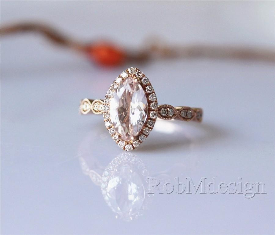 14K Rose Gold Morganite Engagement Ring VS 1 0ctw Marquise Cut