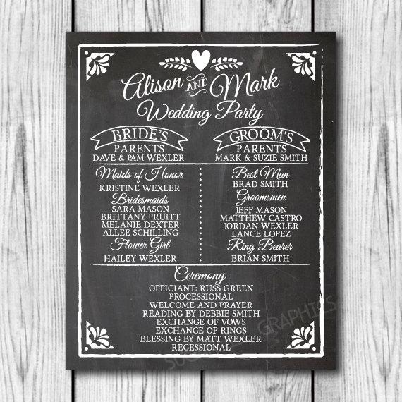 Chalkboard Wedding Program Sign Printable Decor Signage Instant