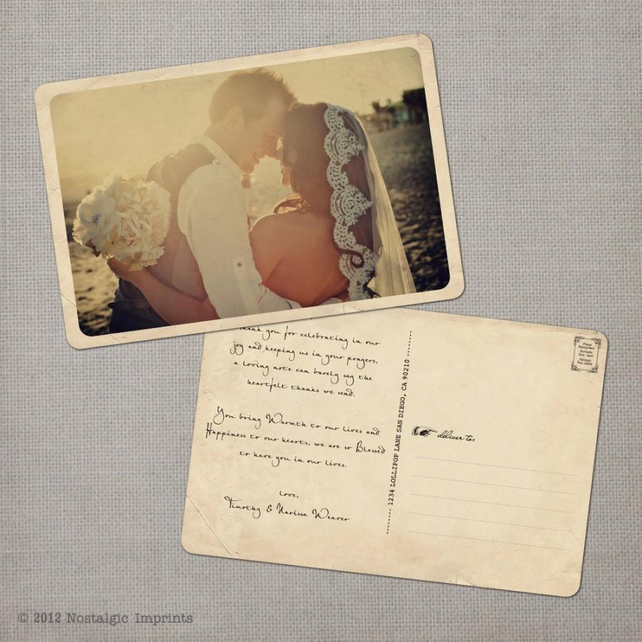 Vintage Wedding Thank You Postcards Cards Note Card The Narissa