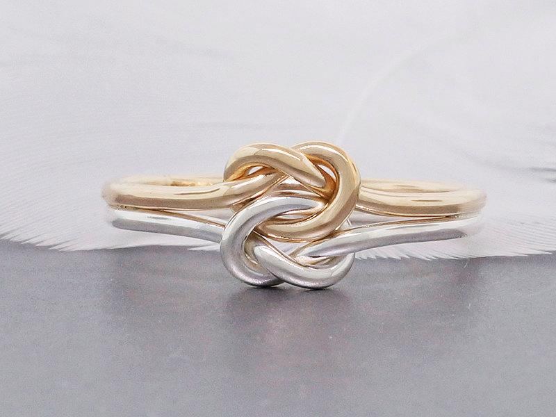 Double Love Knot Engagement Ring 14k Solid Gold And Silver Ring
