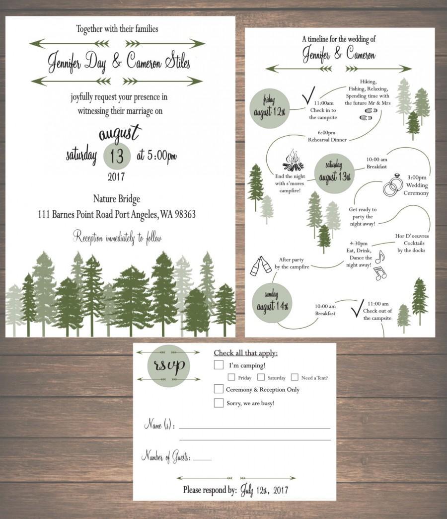 Printable Mountain Weekend Wedding Invitation Kit Itinerary Rsvp Card