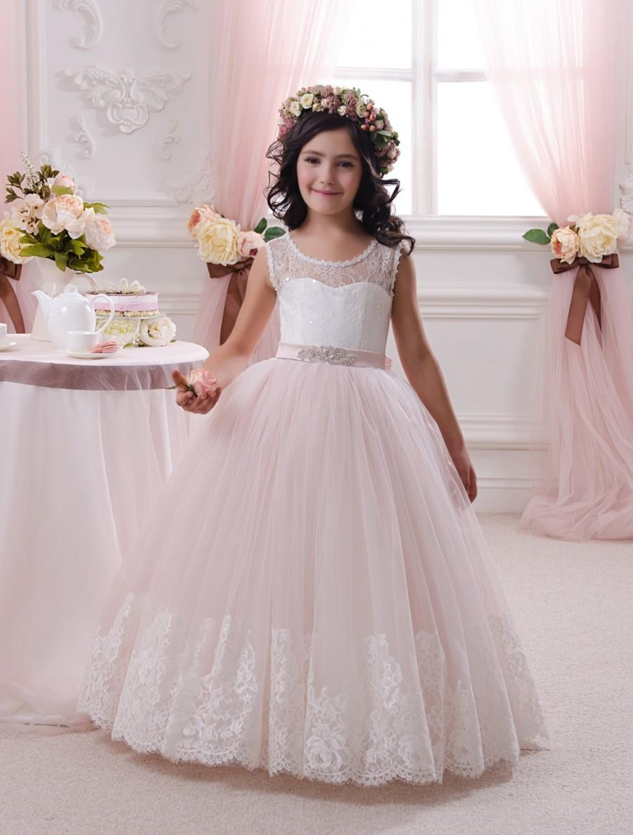 Ivory And Blush Pink Flower Dress Birthday Wedding Party Holiday Bridesmaid Tulle Lace