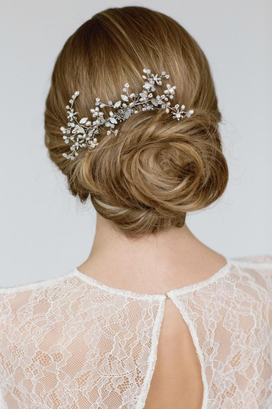 wedding hair accessories , bridal hairpiece ,crystal pearl hair