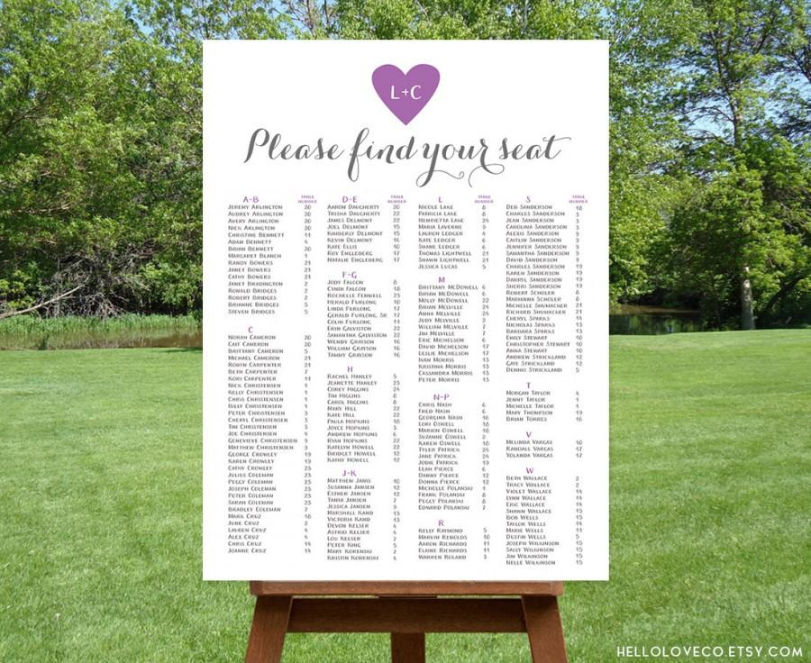 Printable Alphabetical Wedding Seating Chart