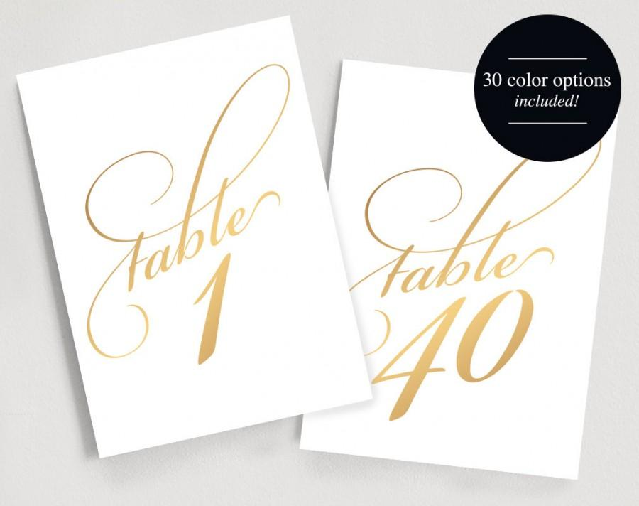 Printable Table Numbers Instant 1 40 Gold Number Script 5x7 Silver C Template