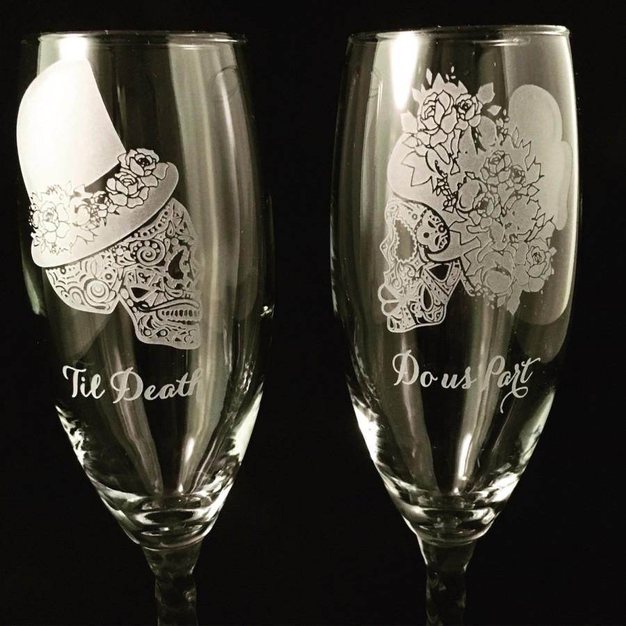 Personalized Wedding Toasting Gles Champagne Sugar Skull Day Of The Dead Dia De Los Muertos