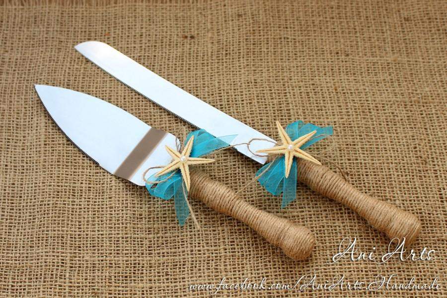 Beach Wedding Cake Server And Knife Nautical Serving Set Rustic Cutting Cutter