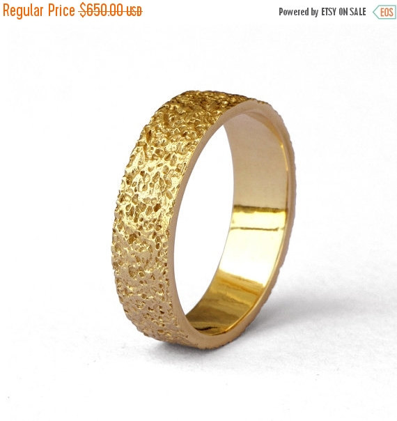 ON SALE STARDUST Textured Wedding Band 14k Yellow Gold Wedding
