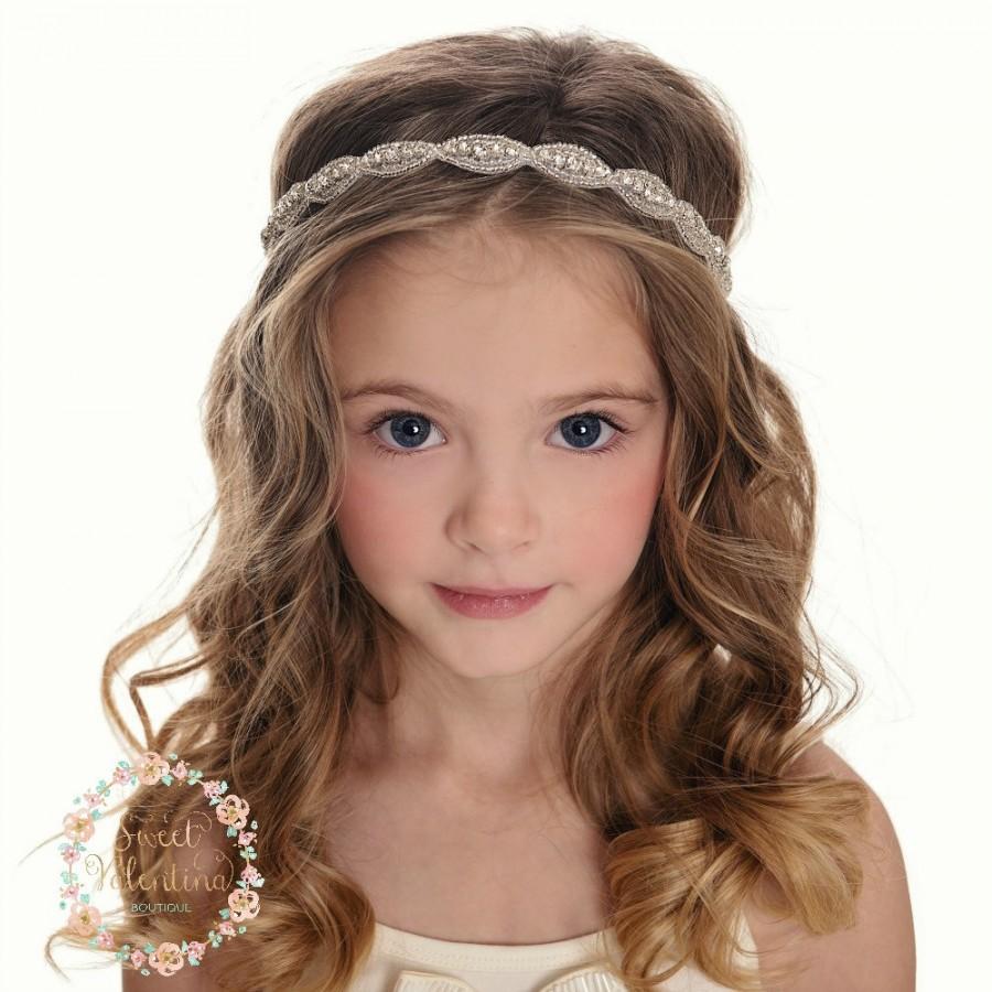 rhinestone bridal headband, wedding headband, flower girl headband