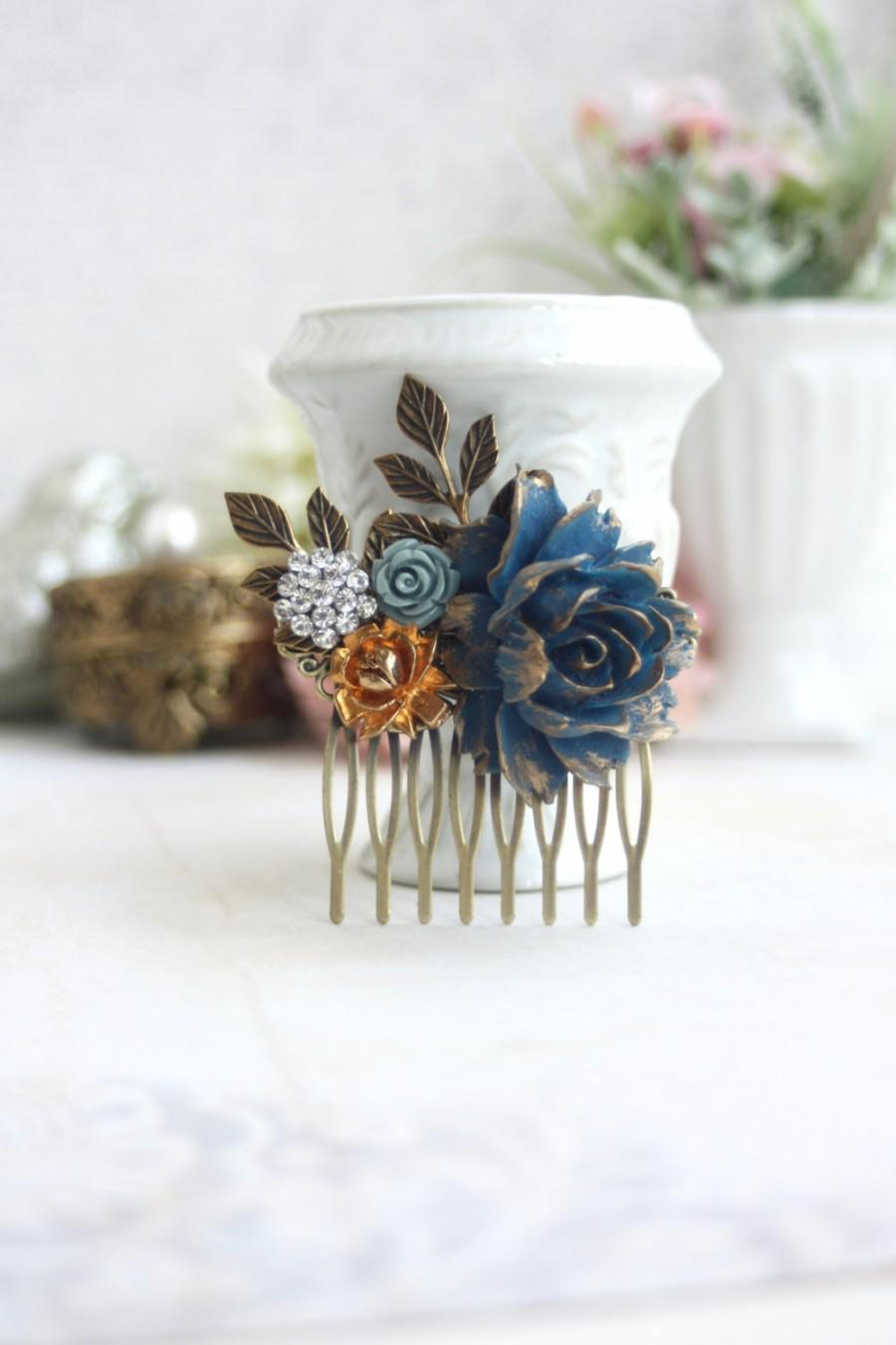bridal hair comb gold rose navy blue rose hair comb gold and blue