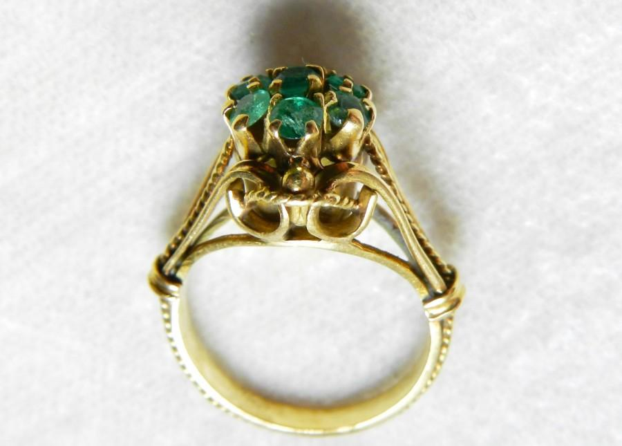 Emerald Engagement Ring 14K Emerald Ring Victorian Antique