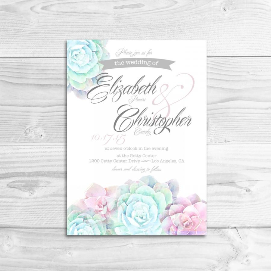 Watercolor Succulent Wedding Invitation Diy Printable Rustic Whimsical