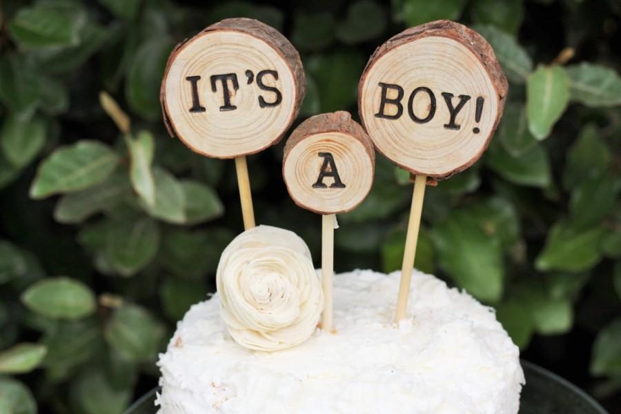 It S A Boy Cake Topper Baby Shower Wood Slice Woodland Rustic