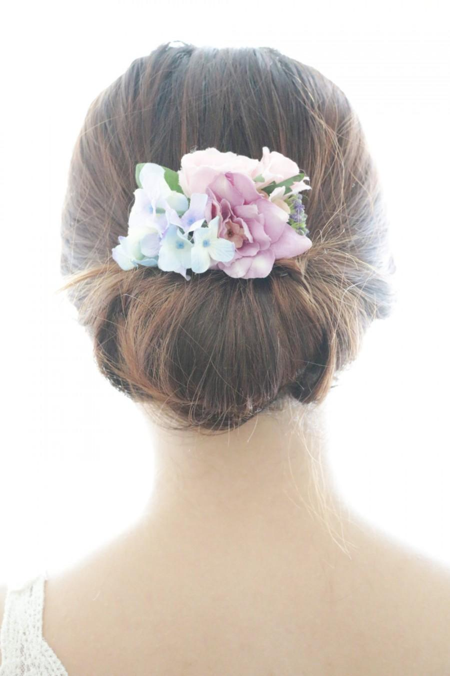 bridal hair accessory, purple flower & blue hydrangea, bridal hair