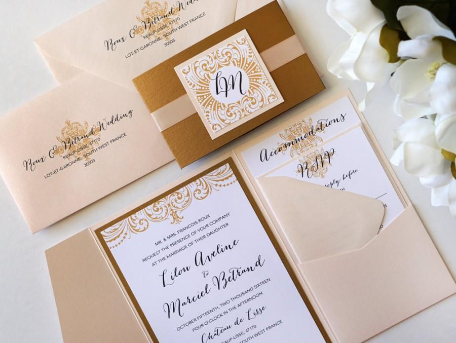 Ornate Elegance Blush And Antique Gold Pocket Folder Style Wedding Invitation