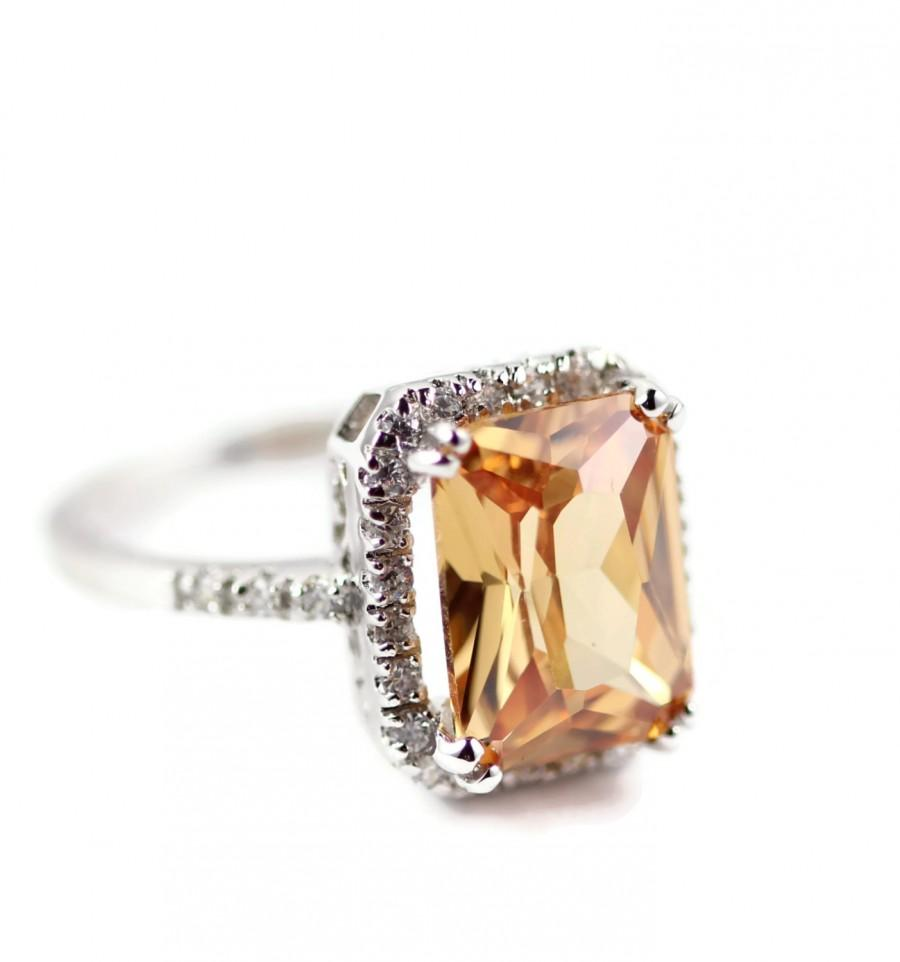 925 Sterling Silver Tail Halo Ring 6 20 Carat Radiant Cut Yellow Golden Citrine Champagne Amber Round Russian Diamond Cz Stunning