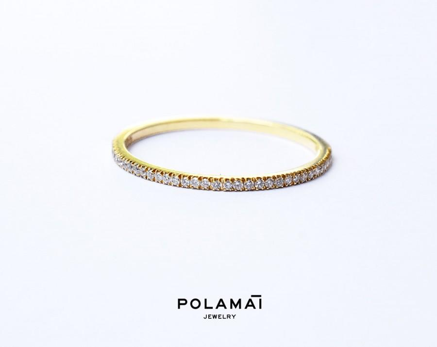 Diamond Eternity Ring 1 2mm 18k Micro Pave Full Wedding Band Thin Yellow White Rose Gold