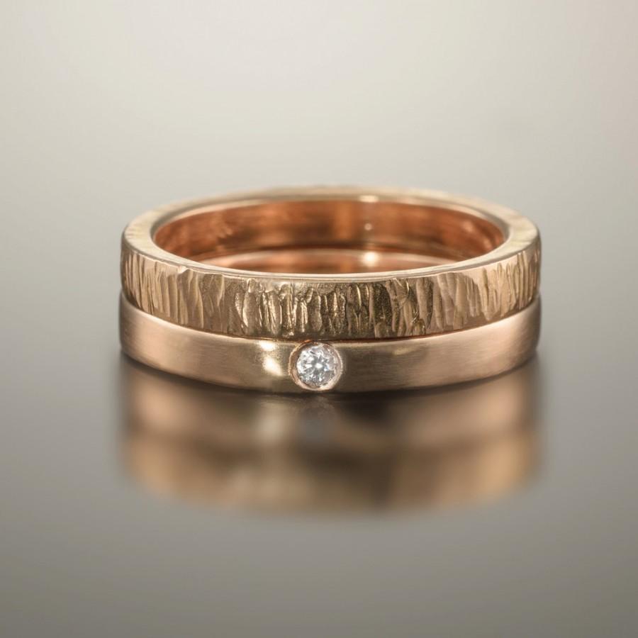 Gold Wedding Bands Rose Ring Diamond Set 14k 18k Simple