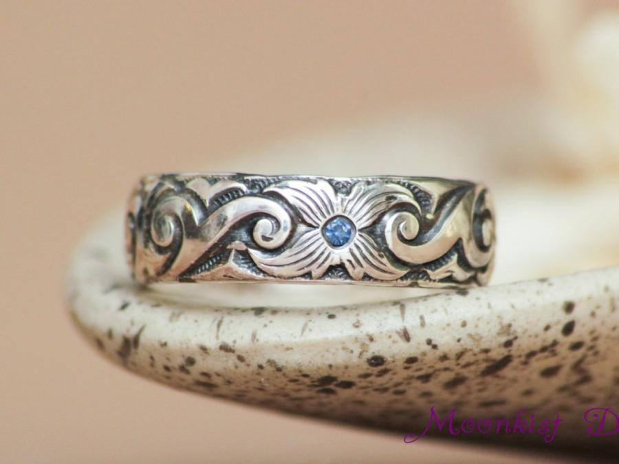 Scroll And Starburst Flower Wedding Band With Inset Blue Shires In Sterling Silver Pattern Promise Ring Or Commitment