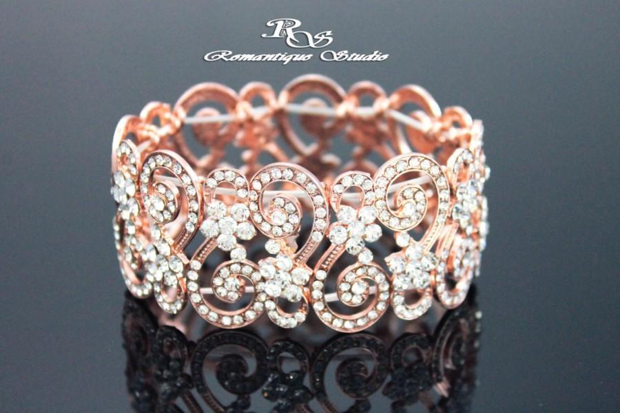 Rose Gold Vintage Style Wedding Bracelet Bridal Rhinestone Bridesmaid Jewelry B0120rg