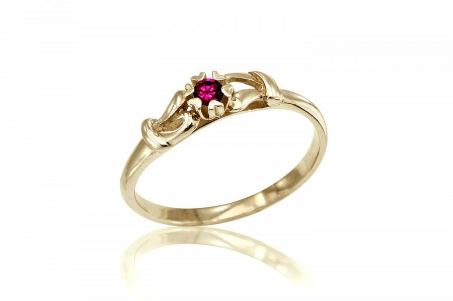 Ruby Engagement Ring Vintage Wedding Free Shipping