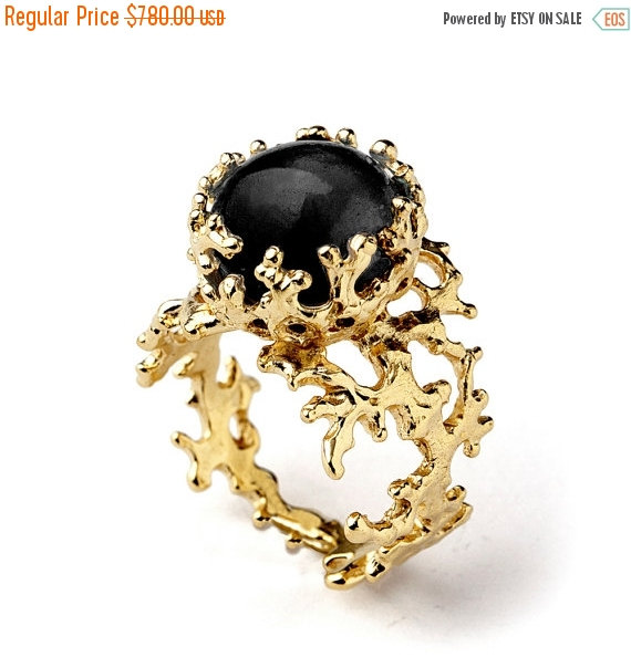 ON SALE CORAL 14k Gold yx Ring Black yx Engagement Ring