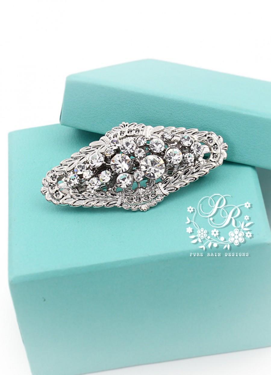 wedding hair clip rhinestone clear crystal hair clip bridal hair