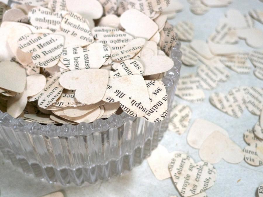 Wedding Confetti Heart Shaped Bridal Shower Reception Decor Vintage Paper Made From French