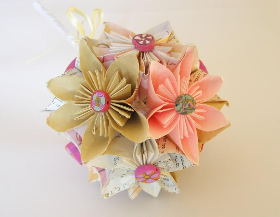 Paper Flower Bouquet Wedding Bridal Handmade Flowers Kusudama