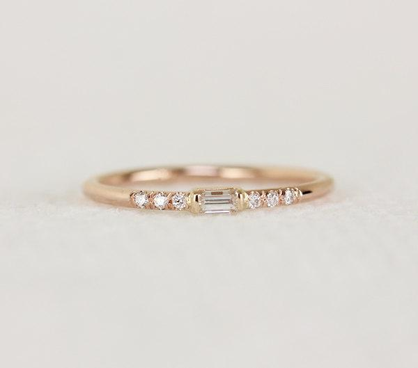 14k Solid Gold Thin Engagement Ring With Baguette Diamond Simple White Elegant Dainty Stackable