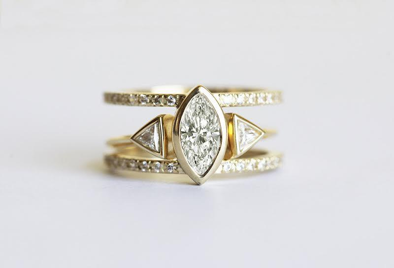 Diamond Engagement Ring Set Trillion And Marquise Ruby Wedding Yellow Gold