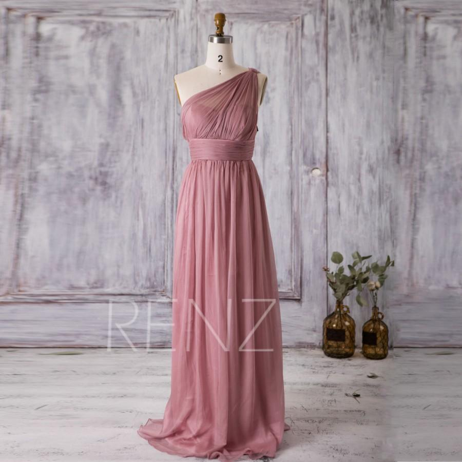2016 Dusty Rose Bridesmaid Dress Long Chiffon Maxi Illusion One Shoulder Wedding Asymmetric Backless Party T112b Renz