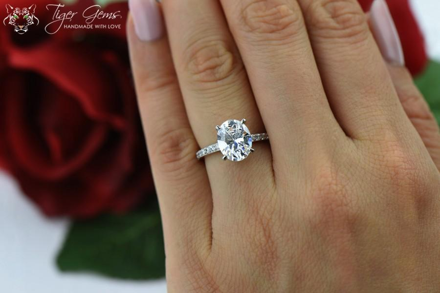 3 25 Ctw Oval Solitaire Ring Engagement Half Eternity Band Bridal Wedding Flawless Man Made Diamond Simulants Sterling Silver
