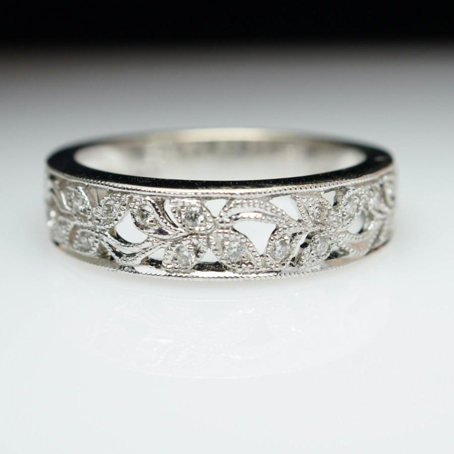 Intricate Diamond Flower Inlay White Gold Anniversary Band Wedding Engagement Ring