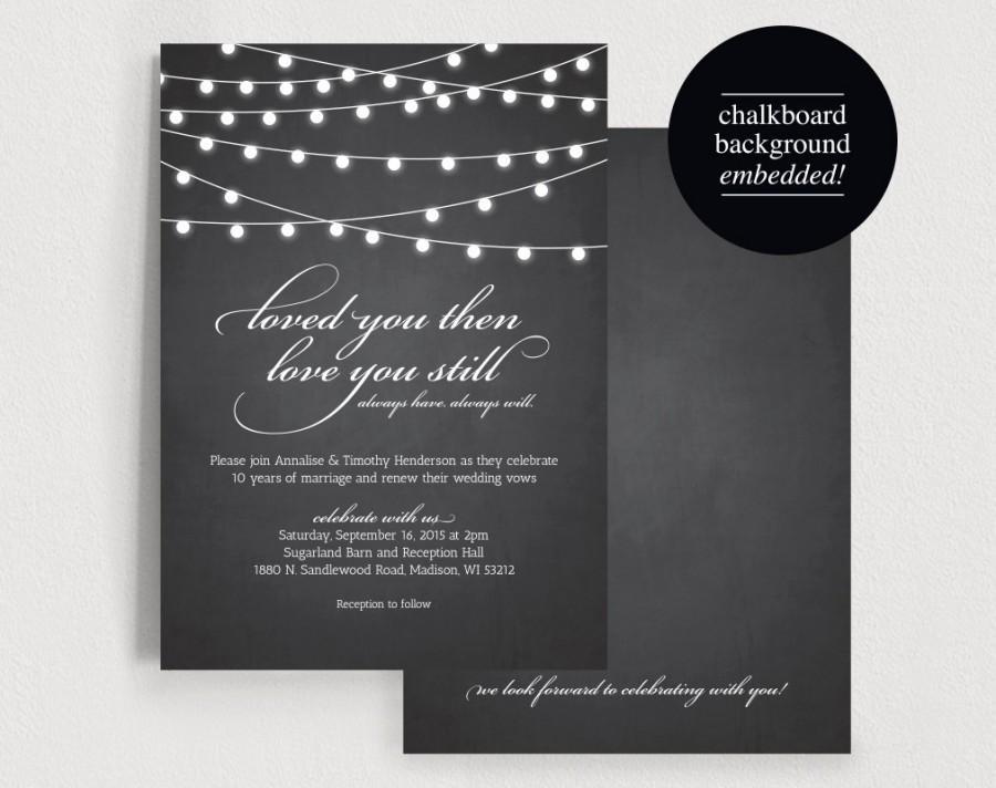 Vow Renewal Invite Invitation Wedding Rustic Chalkboard String Light Printable Pdf Instant