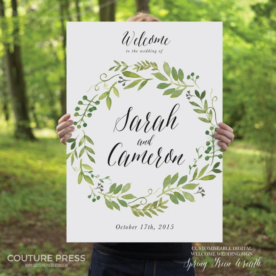 Printable Wedding Welcome Sign Watercolor Rustic Whimsical Diy Signage Spring Green Wreath