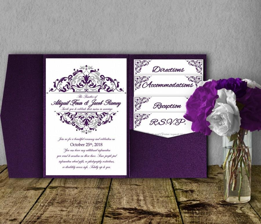 Silver Purple Wedding Invitation Template Kit Suite Pocket Diy Pocketfold