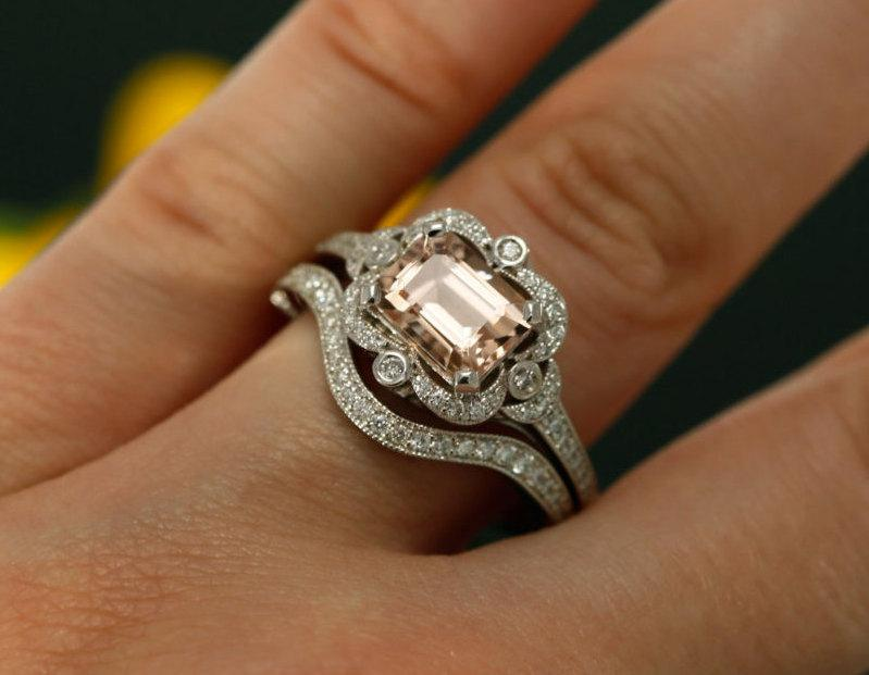 8x6mm Emerald Cut Morganite And Diamond Halo Engagement Ring With