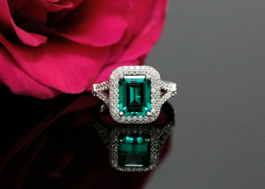 9x7mm Emerald Shape Chatham Emerald Double Halo Engagement Ring