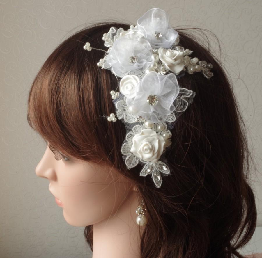 ivory fascinator wedding hair clip flowers comb with rhinestones