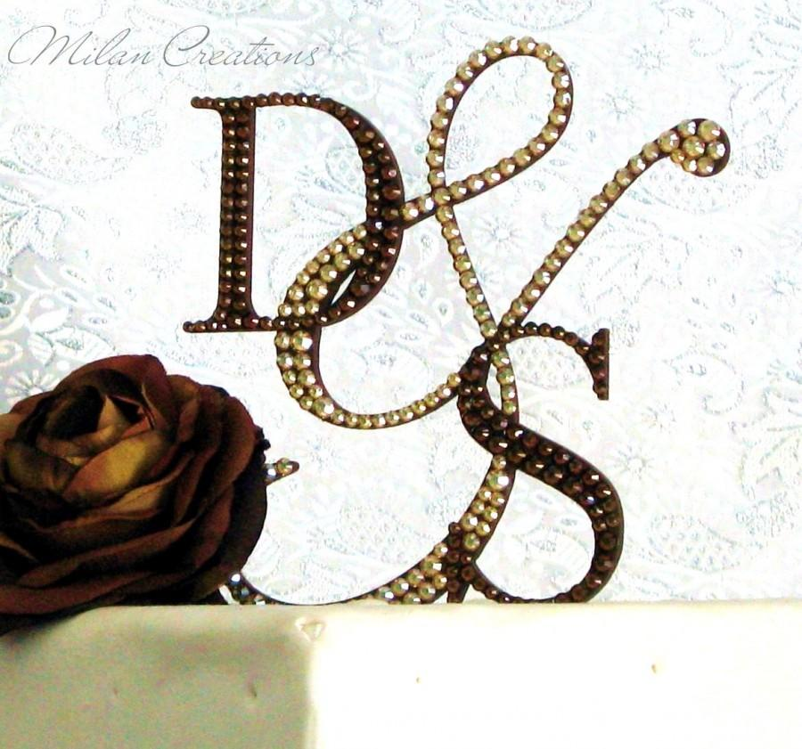 monogram wedding cake toppers with swarovski crystals crystallized initial cake toppers with swarovski crystals 17528