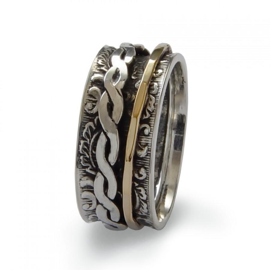 Braided Gold Spinner Ring Sterling Silver And Filled Uni Wide Spinners Wedding Band Men Woman Handmade Jewelry