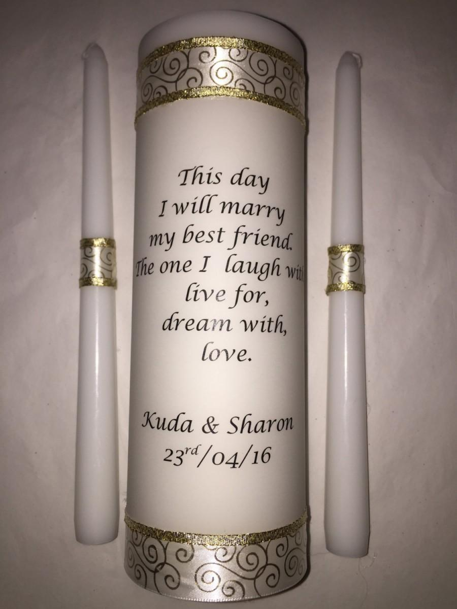 Wedding Unity Candle Set Ceremony Personalized Poem Love Remembrance Customized Pillar Tapers